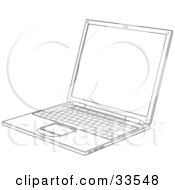 Laptop Black And White Slanted View Of A Black And