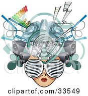 Clipart Illustration Of A Female Media Head With Visual Glasses Speakers Equalizers And Arrows