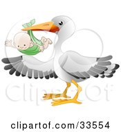 Clipart Illustration Of A White Stork Bird With Black Tipped Wings Carrying A Happy Baby In A Green Cloth by AtStockIllustration