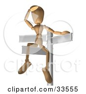 Clipart Illustration Of A Wooden Figure Seated On A Sign Post Looking Out Into The Distance Symbolizing Opportunity And Options