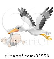 Clipart Illustration Of A White Stork With Black Tipped Wings Flying With A Happy Baby In A Cloth by AtStockIllustration