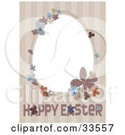 Happy Easter Greeting On A Beige Striped Background With A Floral Frame Around A Blank White Space