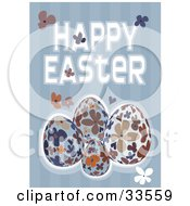Happy Easter Greeting With Floral Eggs And Flowers On A Striped Blue Background