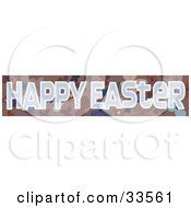 Happy Easter Banner With A Brown And Blue Floral Background