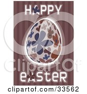 Clipart Illustration Of A Happy Easter Greeting With A Blue And Brown Floral Egg On A Striped Purple Background