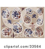 Clipart Illustration Of A Background Of Blue Beige And Brown Floral Easter Eggs On A Striped Background With Flowers by suzib_100