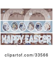 Clipart Illustration Of A Set Of Three Floral Easter Banners With Flowers And Easter Eggs In Brown And Blue Tones