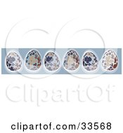 Clipart Illustration Of A Blue Site Banner With A Row Of Blue And Brown Floral Easter Eggs by suzib_100