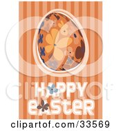 Clipart Illustration Of A Happy Easter Greeting With An Orange Blue And Brown Floral Egg On A Striped Orange Background