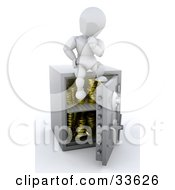 Clipart Illustation Of A White Character In Thought Sitting On Top Of His Safe With Gold Coins In It
