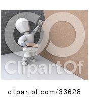 Clipart Illustation Of A 3d White Character Plastering Over A Stone Wall