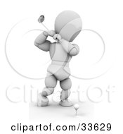 Clipart Illustation Of A White Character About To Swing A Golf Club To Hit A Ball On A Tee