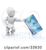 White Character Standing And Leaning Against A Blue Credit Card