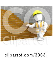 Clipart Illustation Of A White Character Worker Laying A Brick Wall Against An Old Stone Wall by KJ Pargeter
