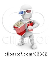 White Character Carrying Soda And A Bucket Of Popcorn Wearing 3d Movie Glasses