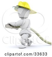 3d White Character Fireman In A Hardhat Operating A Water Hose