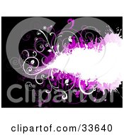 Clipart Illustation Of A White Grunge Space With Vines Over Purple On A Black Background