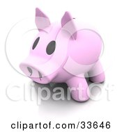 Clipart Illustation Of A 3d Pink Piggy Bank With A Big Snout And Black Eyes
