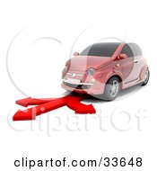 Clipart Illustation Of A Red Compact Car Driving On A Red Arrow That Branches Off In Three Different Directions by KJ Pargeter
