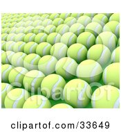 Clipart Illustation Of Rows Of Newly Made Yellow Tennis Balls