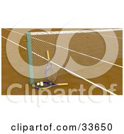 Clipart Illustation Of Two Tennis Rackets And Balls Resting By A Net On A Tennis Court by KJ Pargeter