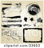 Clipart Illustation Of A Set Of Black Grunge Scratches Lines Splatters And A Box On A Beige Background