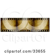 Clipart Illustation Of Three Frames Of A Brown Grunge Film Strip by KJ Pargeter