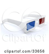 Clipart Illustation Of A Pair Of White 3d Movie Glasses With Red And Blue Lenses