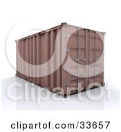 Clipart Illustation Of A Sealed Brown Freight Container On A Reflective Surface