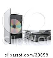 Clipart Illustation Of An Open 3d Disc Case By A Stack Of Cases