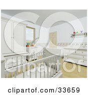 Clipart Illustation Of The Interior Of A White Baby Room With A Mobile Suspended Over The Crib by KJ Pargeter