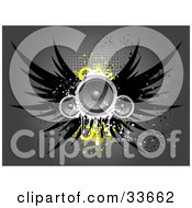 Clipart Illustation Of Grungy Winged Speakers With Yellow Circles Over A Gray Background With Dots by KJ Pargeter