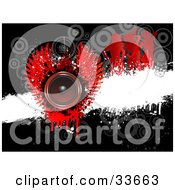 Clipart Illustation Of A Red Winged Music Speaker Over A White Grunge Bar On A Black Background With Faded Circles And Silhouetted Dancers