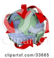 Clipart Illustation Of Red Arrows Circling The Americas On A Wire Globe
