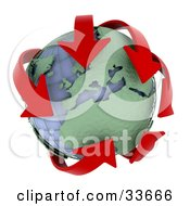 Clipart Illustation Of Red Arrows Circling Africa And Europe On A Wire Globe