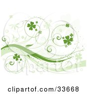 Clipart Illustation Of A Curly Green Vine With Shamrocks Over A White Background With Faded Clover Leaves by KJ Pargeter