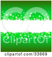 Clipart Illustation Of A White Grunge Text Box Spanning The Center Of A Green Background Bordered In White And Green Clovers by KJ Pargeter