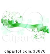 Clipart Illustation Of A Satiny Green Banner With Shamrock Vines Over A White Background With Faded Clovers