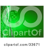 Clipart Illustation Of Green Shamrocks Suspended Over A Gradient Background With Stars Sparkles And Waves