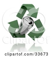 Clipart Illustation Of Green Recycle Arrows Circling Around A Soda Can by KJ Pargeter