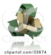 Clipart Illustation Of Green Recycle Arrows Circling Around An Open Cardboard Box by KJ Pargeter