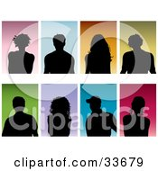 Clipart Illustation Of A Set Of Eight Silhouetted Men And Women On Colorful Backgrounds by KJ Pargeter
