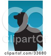 Clipart Illustation Of A Silhouetted Male Avatar Wearing A Baseball Cap On A Gradient Blue Background