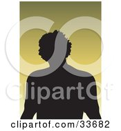 Clipart Illustation Of A Silhouetted Male Avatar With Textured Hair On A Gradient Green Background by KJ Pargeter
