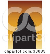 Clipart Illustation Of A Silhouetted Female Avatar With Long Hair On A Gradient Orange Background