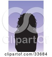 Clipart Illustation Of A Silhouetted Female Avatar With Long Curly Hair On A Gradient Purple Background