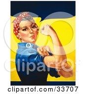Clipart Illustration Of A Tough Woman In A Bandana Flexing Her Bicep