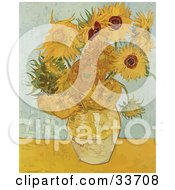 Clipart Illustration Of A Vase Full Of Sunflowers Original By Vincent Van Gogh by JVPD
