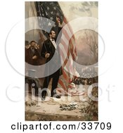 Clipart Illustration Of Abe Lincoln Raising The American Flag by JVPD