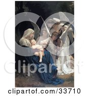 Clipart Illustration Of Beautiful Angels Playing Music For A Newborn Baby by JVPD #COLLC33710-0002